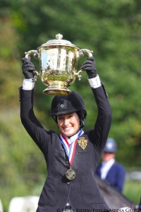 Jessica Springsteen holding aloft the Gold Cup